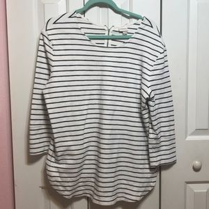 Blue and White Striped Thick Shirt
